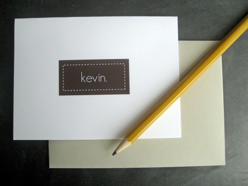 brown name card