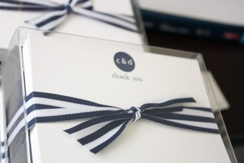 navy and white note cards